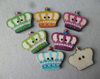 x 5 mixed buttons painted wood Crown multicolor 2 hole 30 x 25 mm