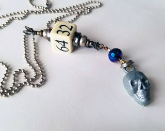 Upcycled Necklace, Vintage Game Cube, Skull Necklace, Found Object Jewelry