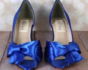 Wedding Shoes, Royal Blue Wedding Shoes, Peep Toe Shoes, Blue Bridal Accessories, Bow Wedding Shoes, Something Blue, Custom Wedding Shoes