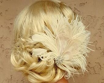 Feder, Haarspange, Feder-Fascinator, Hochzeit Haarschmuck, Braut Haar Fascinator, Vintage-Stil Fascinator, große Gatsby, Braut Kamm,