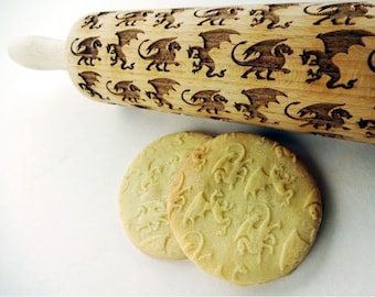 DRAGONS pattern Embossing Rolling Pin. Engraved rolling pin with DRAGONS for embossed cookies.