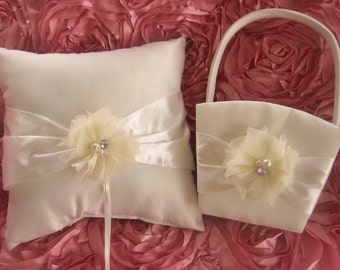 Flower Girl Basket  ..  Wedding Ring Pillow .. Flower Girl Basket and Pillow , Ivory and Cream Shabby Chic Vintage Custom Colors too