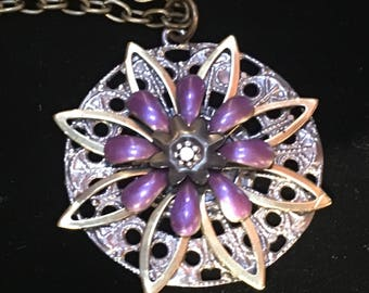 Necklaces Small  Vintage Burst collection painted purple