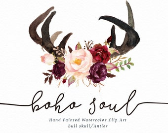 Watercolor clipart-Boho Soul/Ethnic style /rustic/individual PNG files/wedding