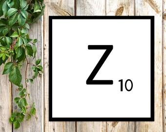Printable Scrabble Letter Z, Scrabble Wall Art, Instant Download, Printable Art, Printable Print, Alphabet Wall Words, Personalize Word Art