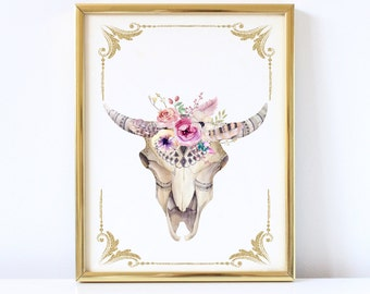 Boho Cow Skull Wall Print, Floral Cow Skull Print, Tribal Watercolor Print, Floral Cow head Print, Instant Download