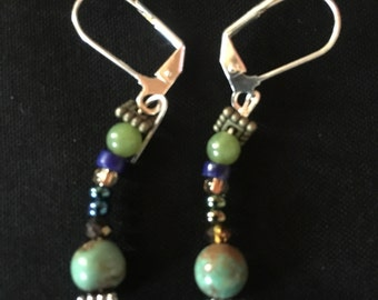 Greens and blues; jade and turquoise drop earrings