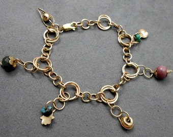 On Sale: 15% off. Charm Gold Filled Bracelet, Pink and Turquoise Charms,  Vintage Style, Valentine