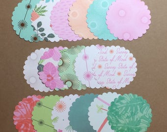 "50 - 2 1/2"" Scalloped Circles Assorted Prints  Set S1"
