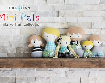 NEW Mini Pals FAMILY PORTRAIT soft rag doll pdf sewing pattern toy softie stuffed doll