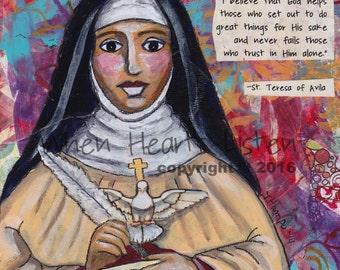 Saint painting, saint art, St Teresa of Avila, Confirmation gift, St Teresa, inspirational art