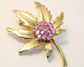Vintage brooch. Pink crystal brooch. Leaf brooch