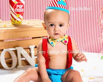 Circus Birthday outfit cake smash carnival TURQUIOSE diaper cover costume balloon hat bow tie clown ring master suspenders 12 18 24 toddler