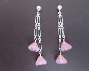 Pink flower earrings- opal glass on sterling silver
