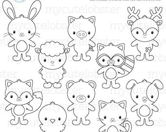 Standing Animals Digital Stamps - cute animal outlines, coloring, line art, stamps - personal use, small commercial use, instant download