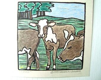 Kühe zu drucken - 4.5x4.5. Linoleum Drucke Wand Kunst Hand farbige Hand gedruckt Linolschnitt Kuh Print Block Drucke handgemachte Geschenke Farm Thema