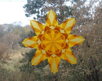 Yellow 8 Point Window Star Sun Catcher - Summer Winter Solstice Holiday Home Decor Birthday Ecofriendly Sustainable Natural Home Decoration