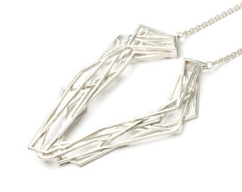 silver geometric necklace, 3D printed jewelry, 925 silver, statement necklace, luxury necklace, contemporary jewelry, silver jewelry