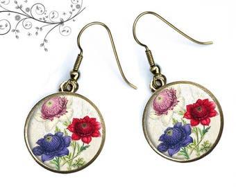 Vintage flowers earrings under bronze cabochons, birthday gift Mom
