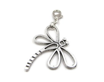 Silver Double Sided Plated Dragonfly Zipper Pull - Clip-On Charm