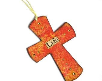 Small Cross Decoupaged Easter Wall Cross Crystal Embellished Orange Catholic Art Christian Art Christening Religious Baby Gift