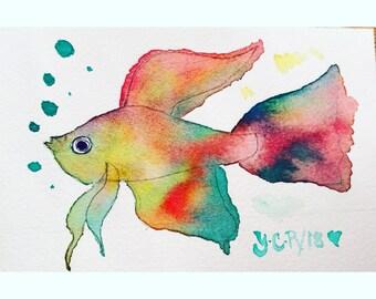 Original  watercolor  fish painting , colorful fish painting , 4x6 painting , animals  painting , fish art, whimsical art