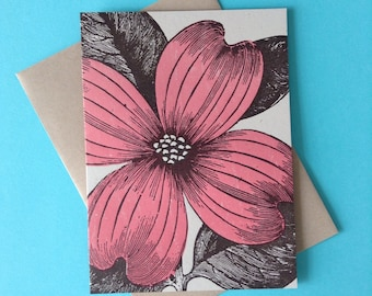 1 PINK DOGWOOD Card Dogwood FLOWER Spring flower greeting card Thank you note Dogwood tree note Easter card Letterpress Garden note card