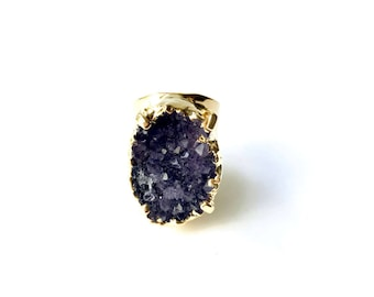 On Sale! Amethyst Prong Ring - Adjustable