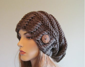 Slouchy Beanie Slouch Hats Oversized Baggy Beret Button womens fall winter accessory Taupe Super Chunky Hand Made Knit