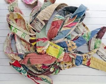 5+ yards total - vintage barkcloth hems - various pieces -NO126