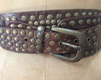 Vintage Leather and Brass Studded Belt