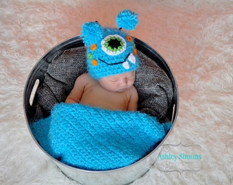 Baby Monster Hat Halloween monster hat Sizes nb 1-3 & 3-6mos, 6-12mos