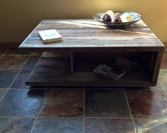 Mid-Century Danish Modern Inspired Contemporary Barn Wood Coffee Table