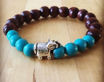 Yogi inspired wood bead mala meditation bracelet with silver elephant bead and turquoise bracelet for women or men