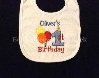 Birthday bib, 1st birthday bib, first birthday bib, personalized, birthday bib boy, embroidered