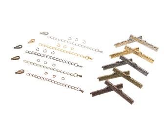 40mm  ( 1  9/16 inch )  Ribbon Choker or Ribbon Bracelet Findings Kit - Bronze, Gold, Silver, Gunmetal, Copper - Artisan & Dots Series