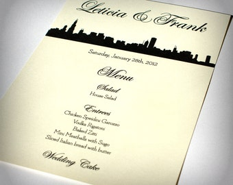 Chicago Menu Cards Custom Wedding Decor Place Setting Reception Decoration Handmade