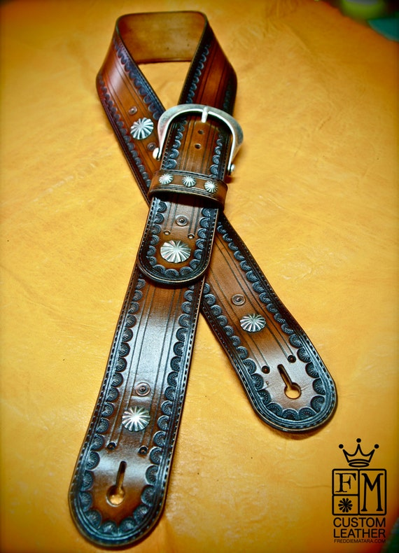 Leather Guitar Strap Brown tobacco Sunburst OUTLAW Cowboy Rockstar Tooled Vintage Style Handmade for YOU in USA by Freddie Matara!