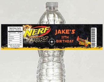 10 Printed Nerf War Birthday Water Bottle Labels