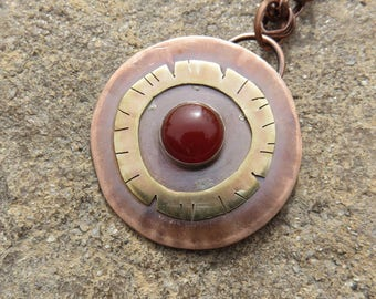 Carnelian Copper Brass Mixed Metal Metalsmith Pendant Necklace, Mixed Metal Necklace