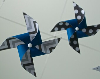 Navy Blue, Black and White Mobile / Crib Mobile / Baby Mobile / Nursery Decor / Pinwheels : Navy Baby
