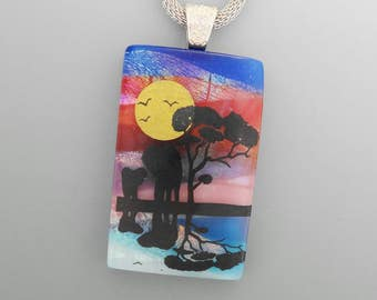 African Inspired Scenic Pendant, Fused Glass Elephant Pendant, Safari Scene,  Dichroic Glass Jewelry, Landscape Pendant, Mom and Me