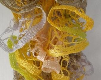 Yellow, White, Tan and Green Ruffled Scarf  Free Shipping