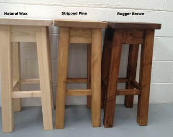 Rustic Handcrafted Pine Bar Stool