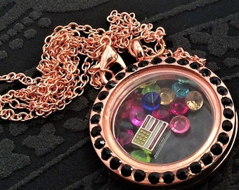 Living Float Charm Memory Black-crystal round Rose-gold Locket Necklace , memory medallion locket, can open