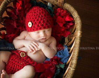 SET Red Tweed Diaper Cover and Hat Newborn Photography