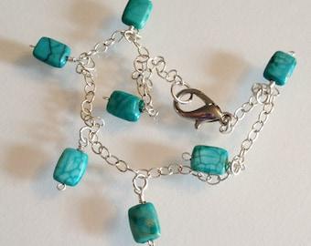 Turquoise Jasper and Silver Chain Bracelet Handmade
