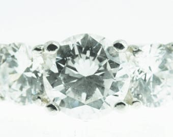 Beautiful Sterling Silver 5mm Triple CZ Ring Size