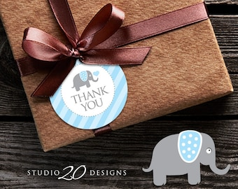 Instant Download Blue Elephant Thank You Tags, Printable Elephant Baby Shower Gift Tags, Baby Boy Thank You Tags 22C