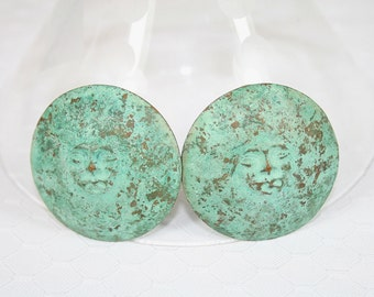 Abstract Face Earrings Verdigris Finish Unusual